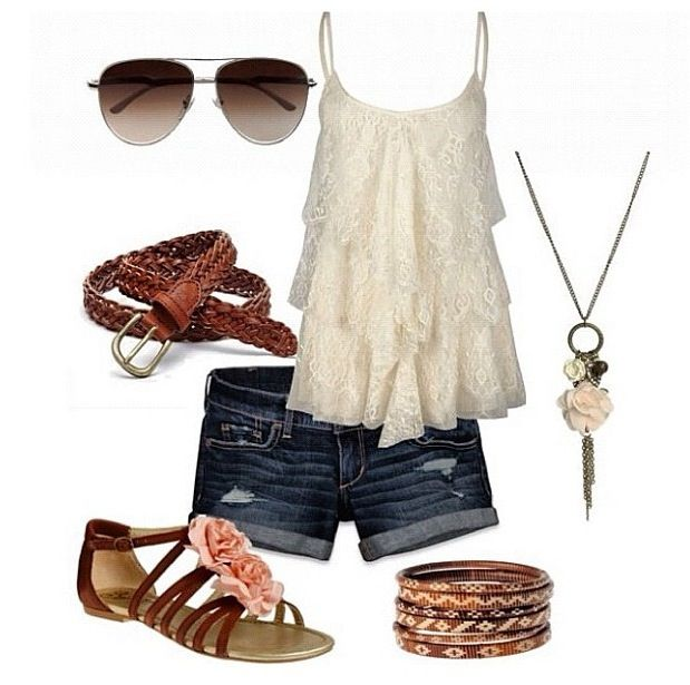 lace shirt and cute necklace!