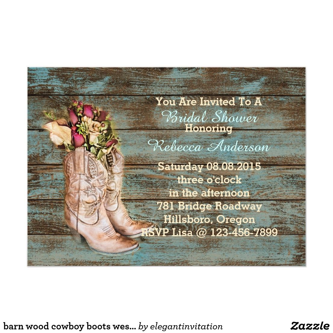 barn wood cowboy boots western bridal shower invitation