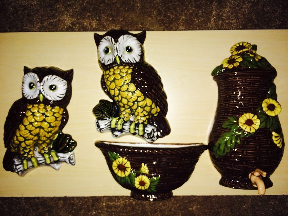 VINTAGE OWL CERAMIC FOUR PIECE WALL ART HANGING BRANCH STUMP AND ...