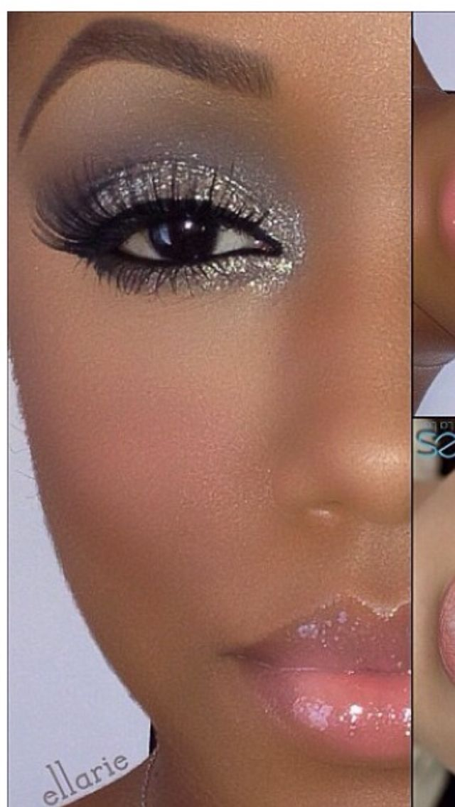Gray with gold glitter eye shadow