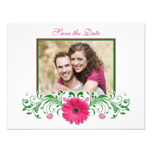 Pink Gerbera Daisy Green Floral Save the Date Card Custom Invitation