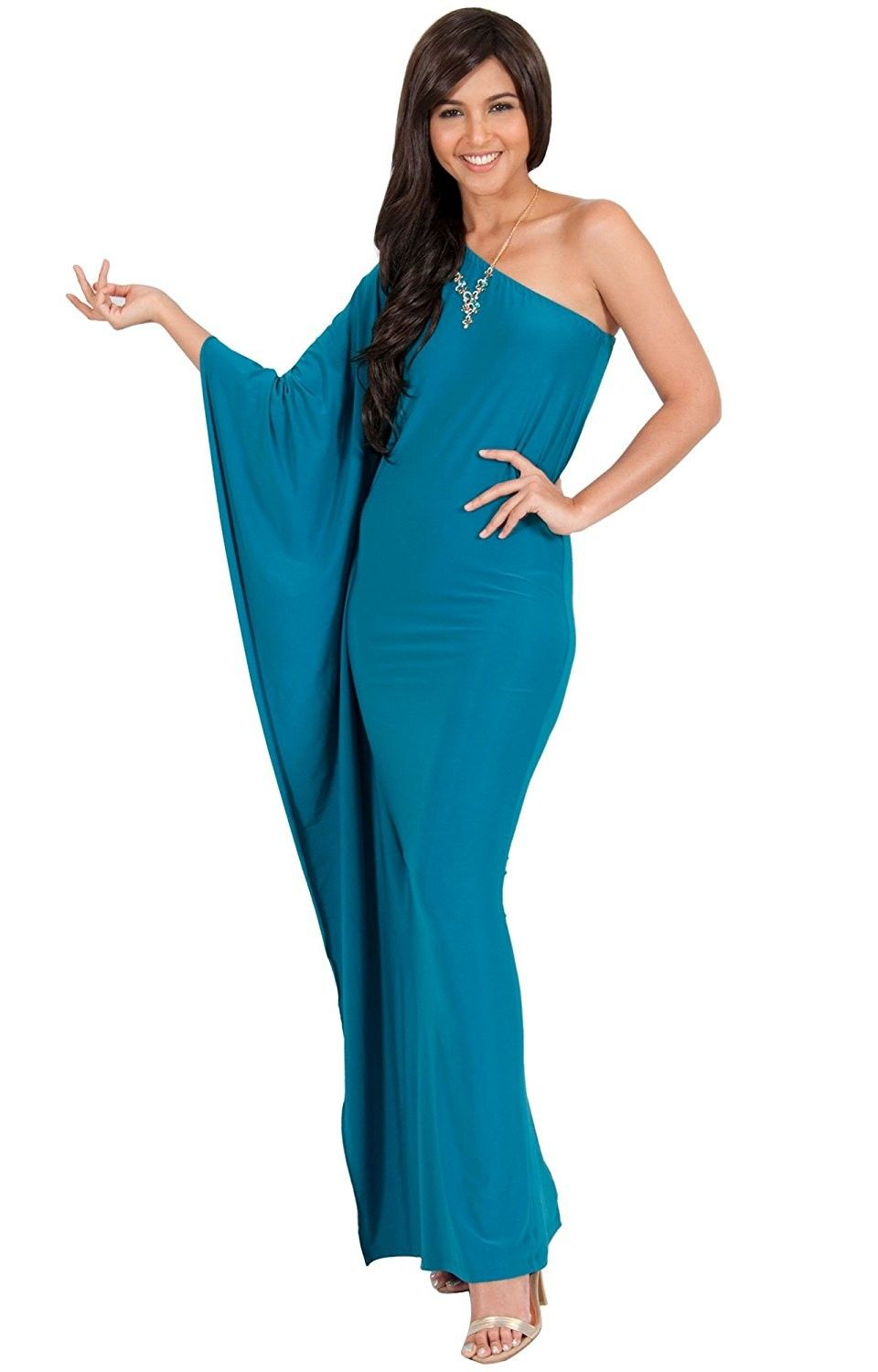 51fc6d460a0 Womens Long Sexy One Shoulder Evening Cocktail Semi Formal Maxi ...