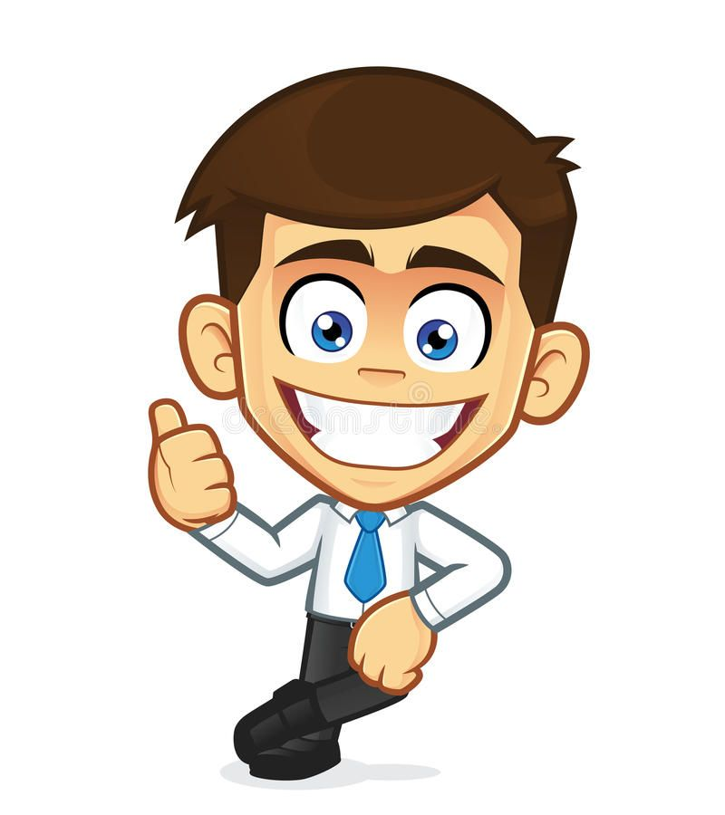 Businessman Leaning On An Empty Block Clipart Picture Of A