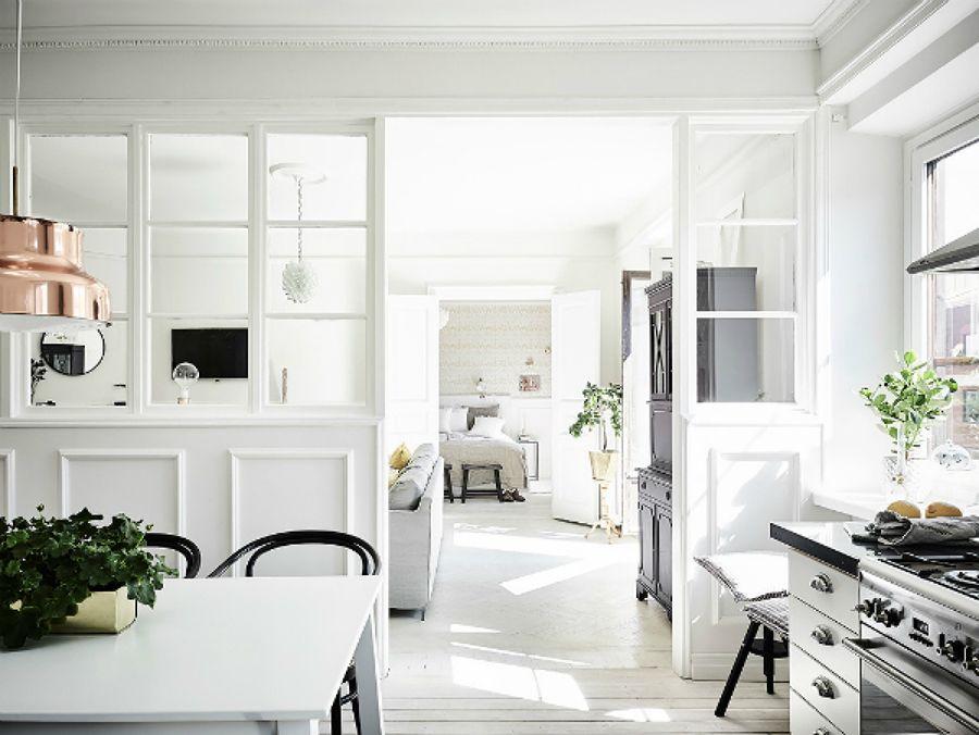 Separación vidrio y madera / comedor estilo nórdico / el piso de ...