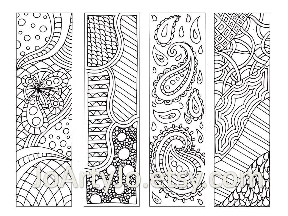 Zentangle Inspired Bookmarks, Printable Coloring, Digital