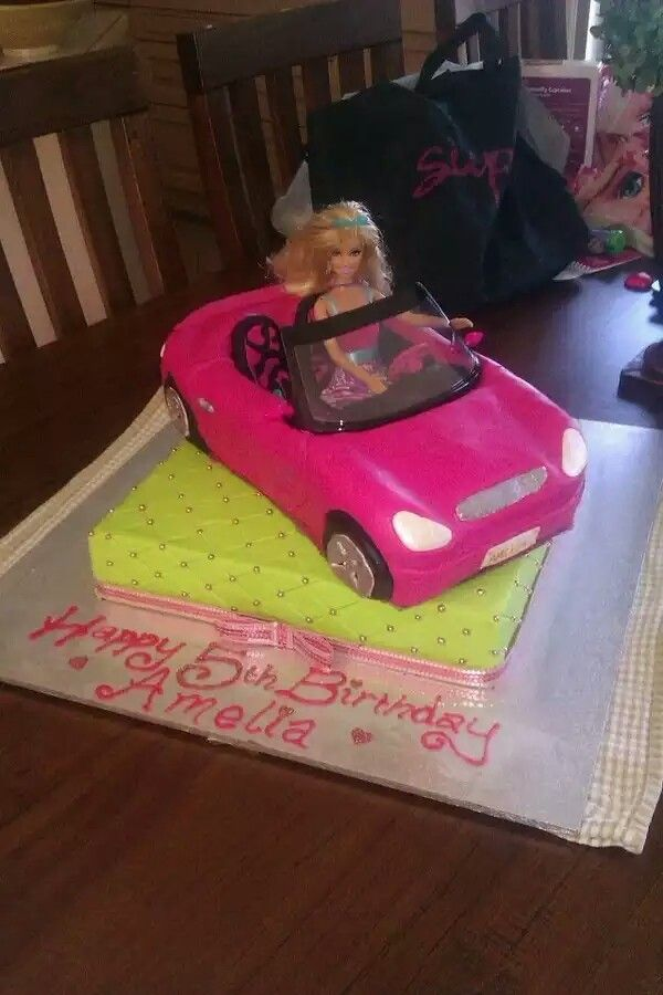 Barbie Car Cake Olivias 4th Birthday Cars Pinterest Barbie