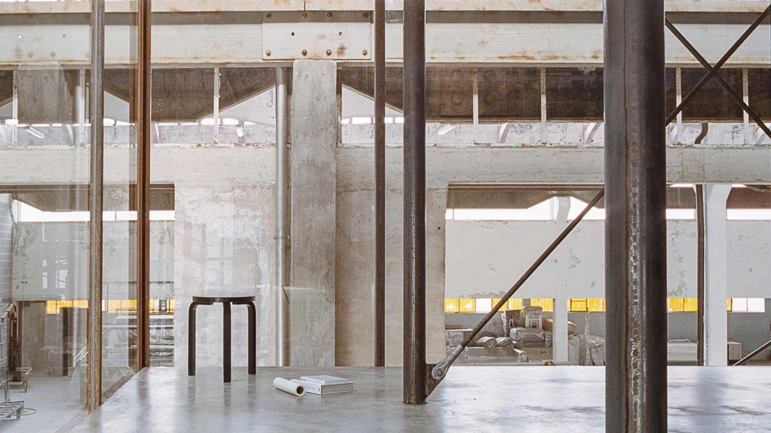 Abandoned Plumbing Factory Converted Into Architecture Studio Architecture Concrete Staircase Glass Boxes