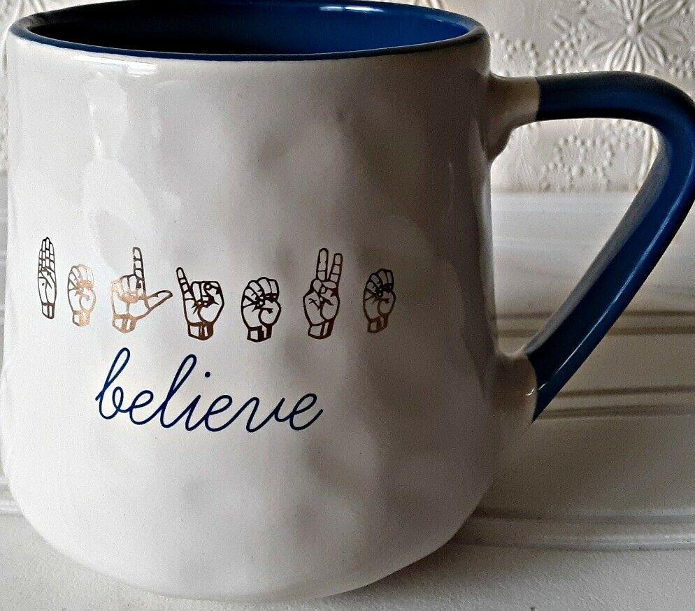 Nicole Miller Coffee Mug Sign Language Believe Pottery Cup Nicolemiller Pottery Cups Mugs Pottery Mugs