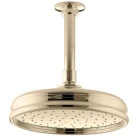 Kohler Traditional Vibrant French Gold 1 Spray Rain Shower Head At Lowes Com Shower Heads Kohler Faucet Shower Installation