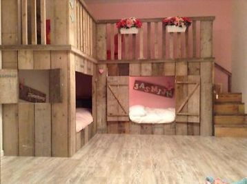 Steigerhout bedstee kinderbed stapelbed  Kinderkamer