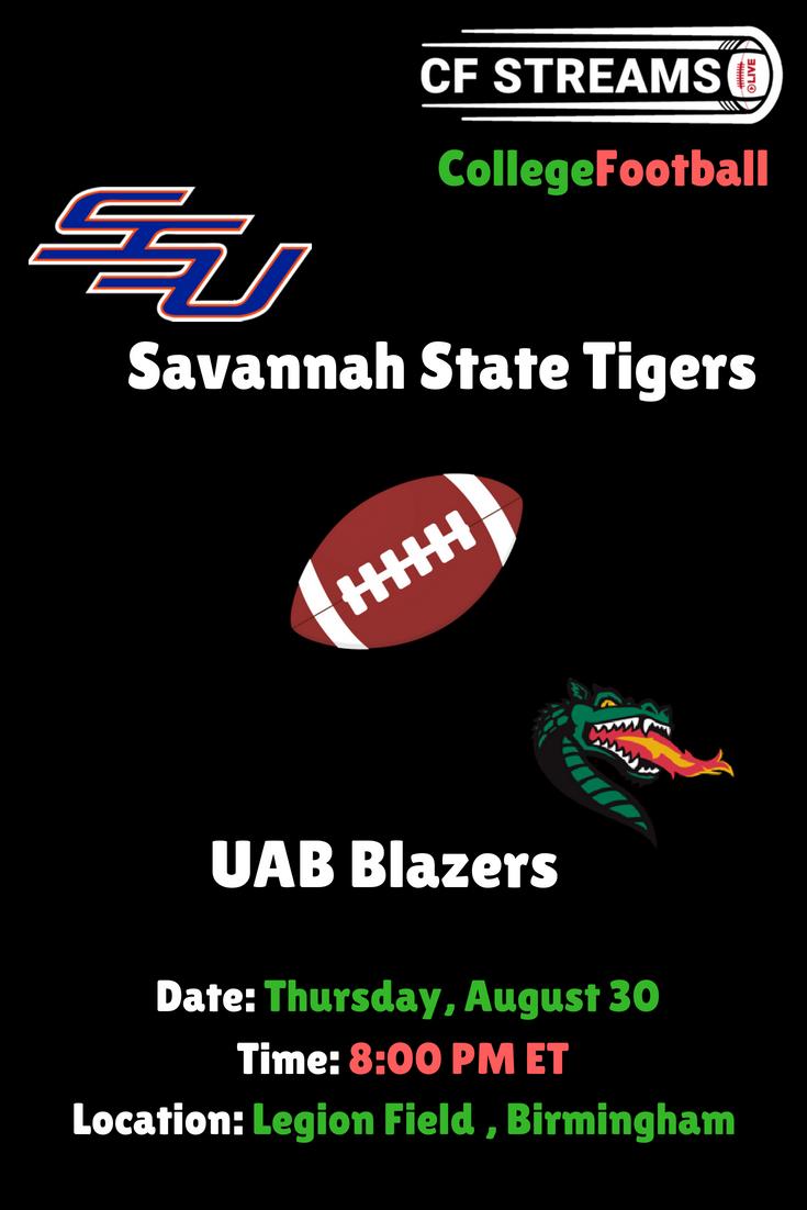 Savannah State Tigers vs UAB Blazers College Football Live