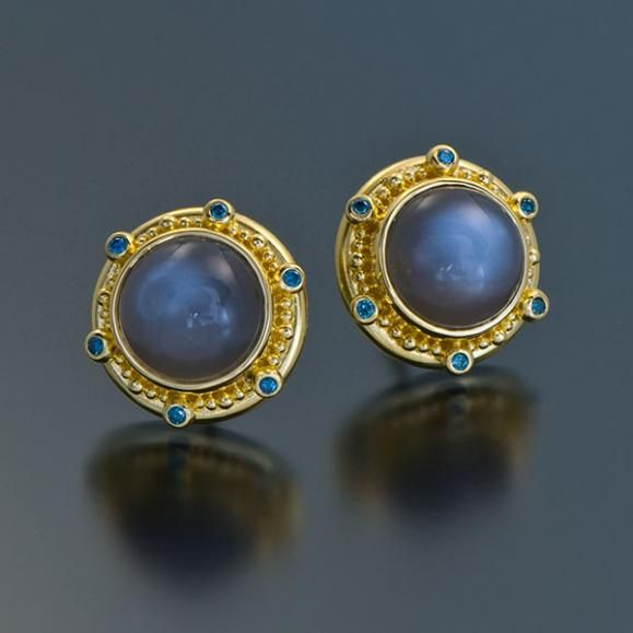 Earrings are set with Black Moonstones and Blue Diamonds set in granulated 22kt yellow gold with 18kt yellow gold post.