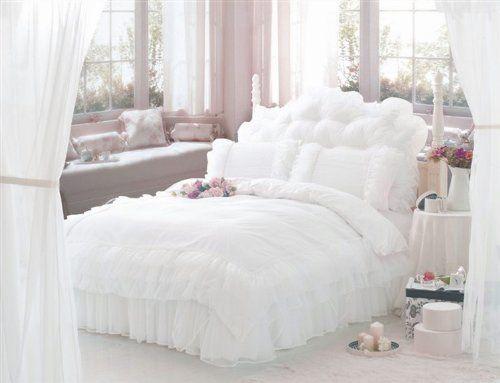 fadfay luxury white bedding set princess lace ruffle bedding set