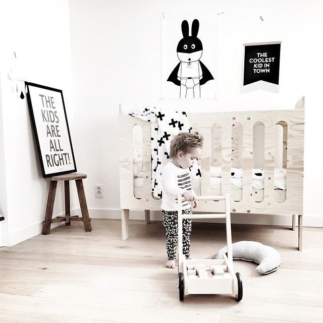 Love the natural wood with the black and white - baby nursery