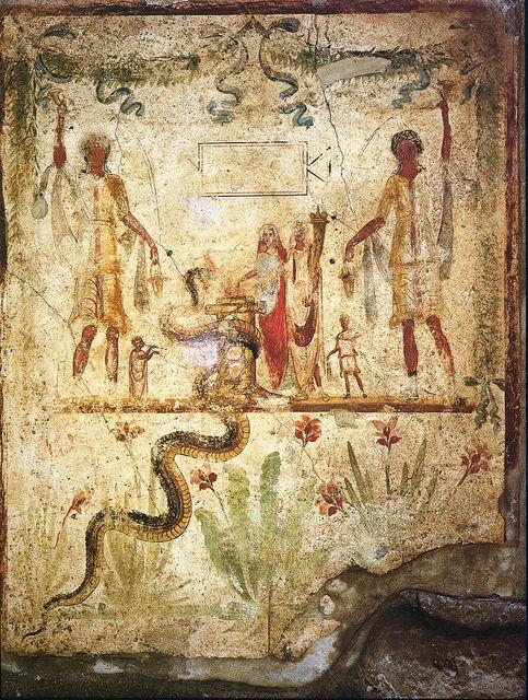 Roman fresco from the lararium of the house of Iulius Polybius IX in Pompeii