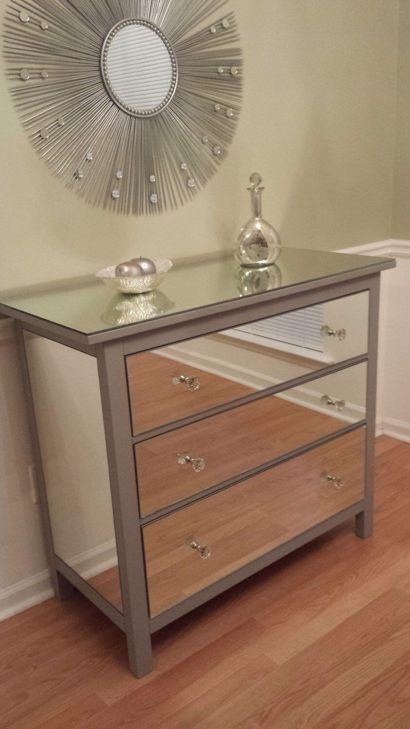 Mirrored Dresser Silver Upcycled Ikea 3 Drawer Mirror By Mirroredjewels On Etsy Https