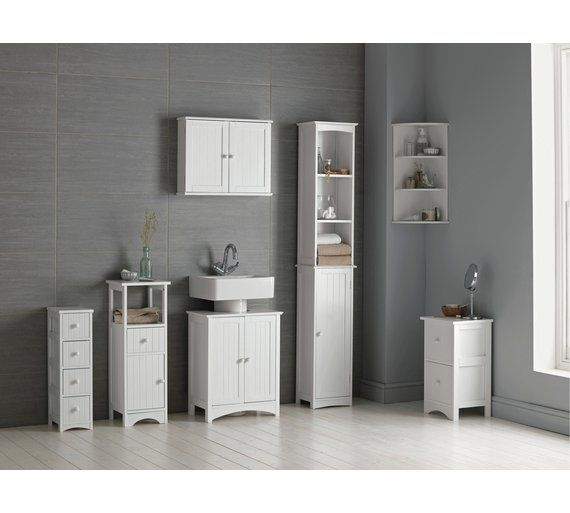 Home Tongue And Groove Tall Cabinet White At Argos Co Uk