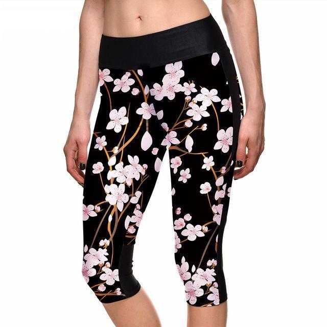 b39d0e39afecd Cherry Blossom on Black Women's Leggings Yoga Workout Capri Pants $18.99 +  FREE Shipping Worldwide