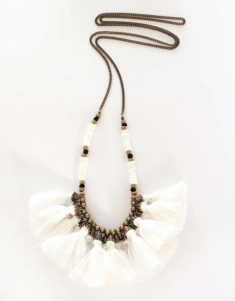 tribal + tassel + necklace + white
