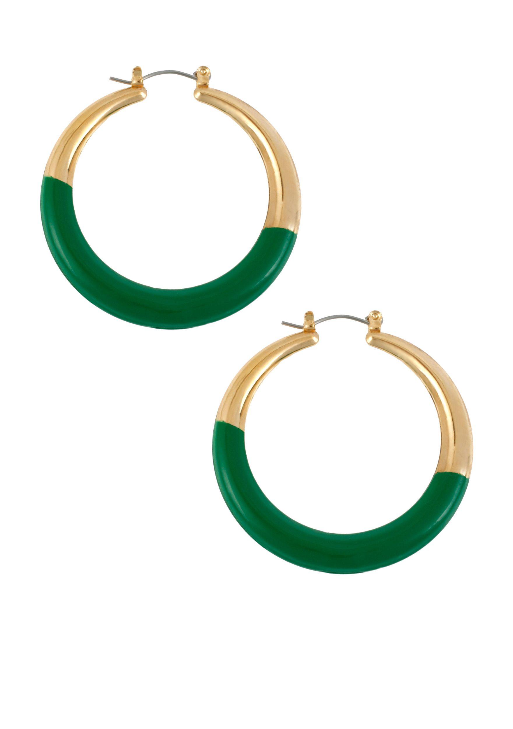 Cynthia Rowley Green And Gold Hoop Earring Cynthiacynthiarowleyexclusively Belk Belkxunc