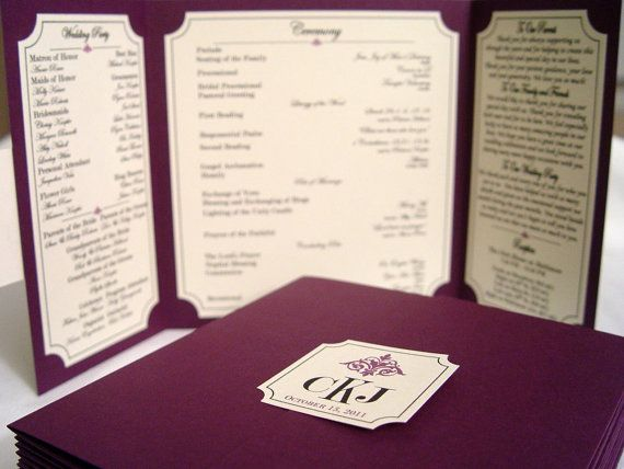 The Katherine - Custom Gate-fold Wedding Program **shown in smooth