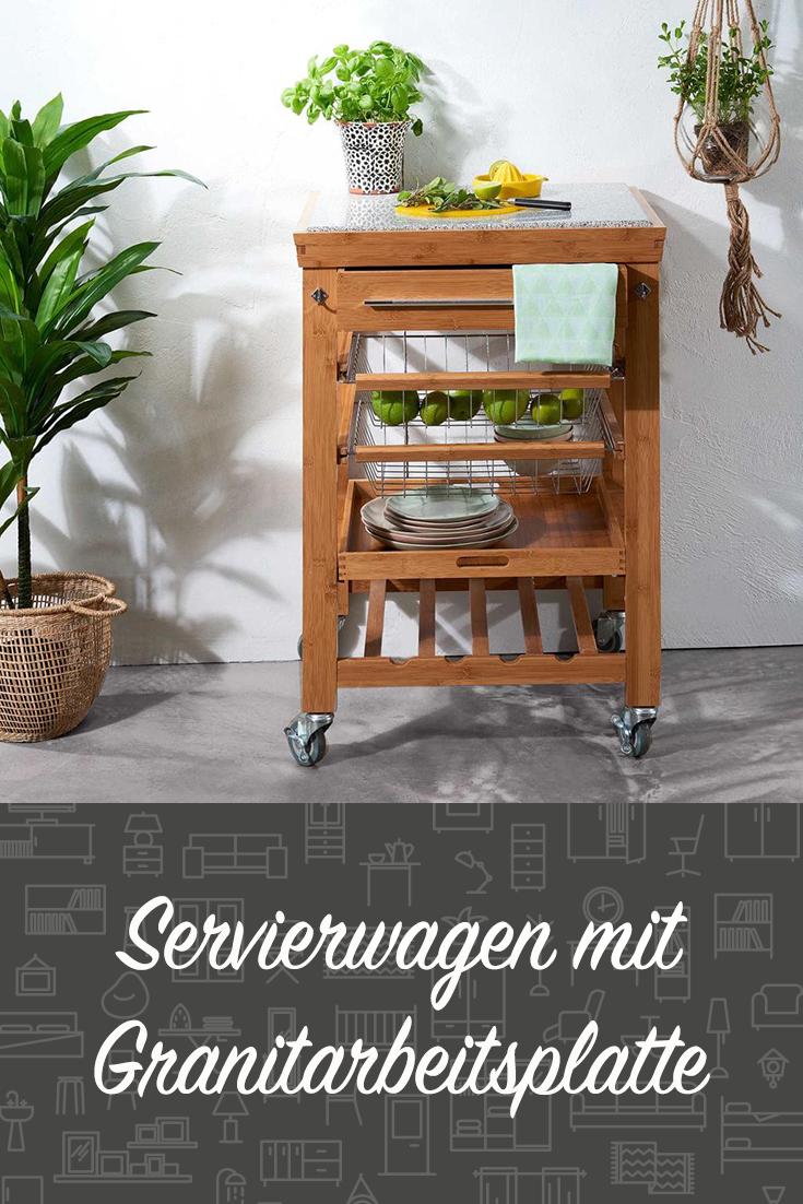 Butlers Rolling Stone Servierwagen Mit Granitarbeitsplatte Servierwagen Haus Deko Wohnen