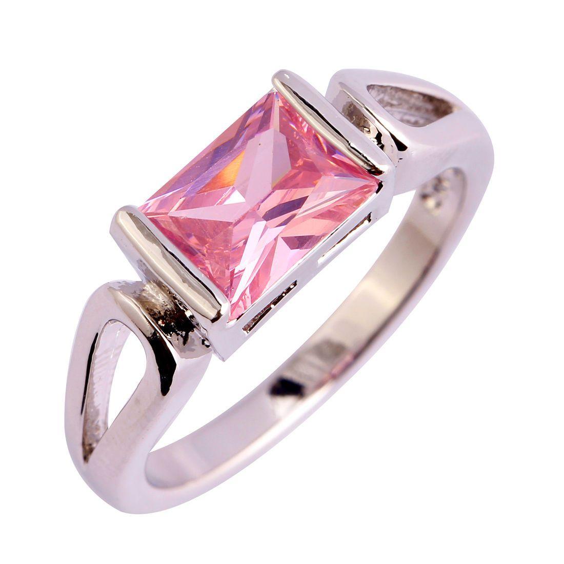 Wedding Emerald Cut Bezel Pink Topaz Gemstones Silver Rings Size 7 8 ...