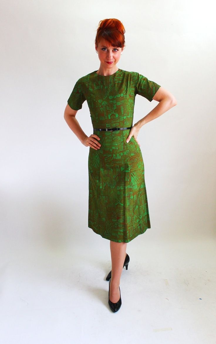 Vintage 1960s Dark Green Brown Dress. Mad Men Fashion. Office ...