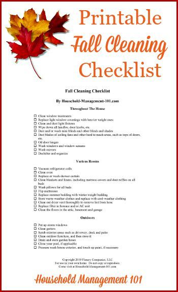 Printable Fall Cleaning Checklist Seasonal Freebies and Printables