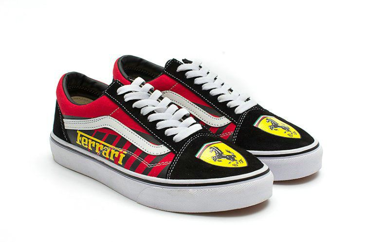 13edc868407451 Vans X Ferrari Old Skool Skateboard Shoes Black Red Vans For Sale  Vans