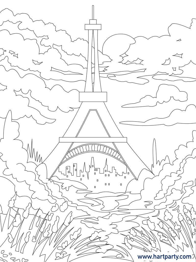 eiffel tower tracable coloring page for the youtube videos. Black Bedroom Furniture Sets. Home Design Ideas