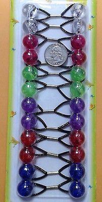 clear sky blue ELASTIC hair Scrunchie tie bead girl Balls