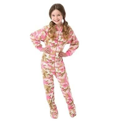 9052497c10b1 Big Feet Pjs Big Girls Pink Camo Kids Footed Pajamas Sleeper (S (7-8 ...