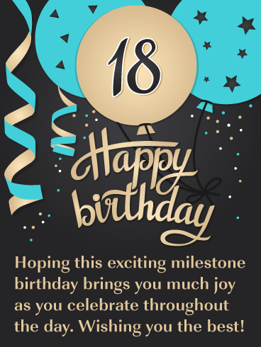 Exciting Celebration Balloons Happy 18th Birthday Card Birthday Greeting Cards By Davia Happy 18th Birthday Quotes Birthday Wishes For Son 18th Birthday Cards