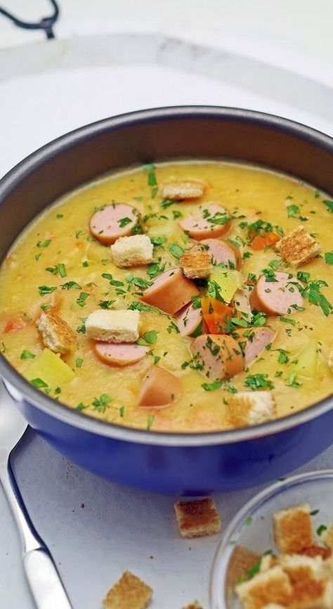 schw bische kartoffel suppe mit saiten w rstchen soups pinterest soppor. Black Bedroom Furniture Sets. Home Design Ideas