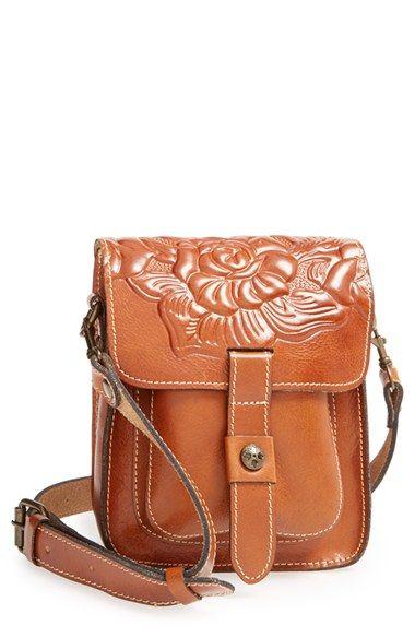 Lari Tooled Leather Crossbody Bag Tooling Brown