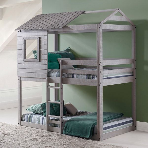 Donco Kids Loft Style Light Grey Twin Over Twin Bunk Bed Bunk