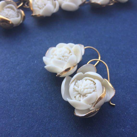 Hand made porcelain & gold earrings 24 k yellow gold hooks