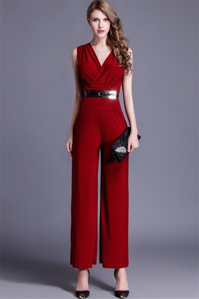 06dc73c464f Fashion V Neck Sleeveless Burgundy Jersey Formal Occasion Evening Jumpsuit  Jumpsuits For Women Formal, Bodycon