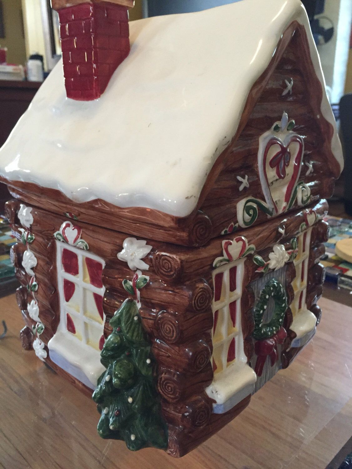 Gingerbread Christmas cottage cookie jar by VendimioCollective on Etsy https://www.etsy.com/listing/461571220/gingerbread-christmas-cottage-cookie-jar