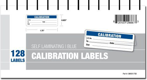 Calibration Labels - Self Laminating in Protective Cover Book (Blue