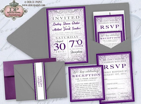 25 Elegant Purple And Gray Damask Pocket Wedding Invitations Set