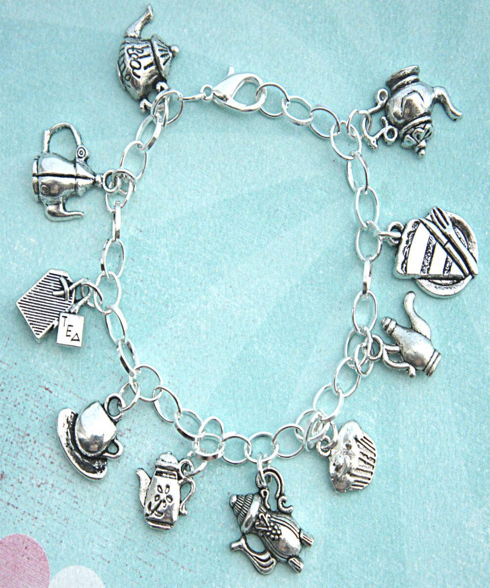 Tea Set Charm Bracelet In 2019 Gifts Silver Charm