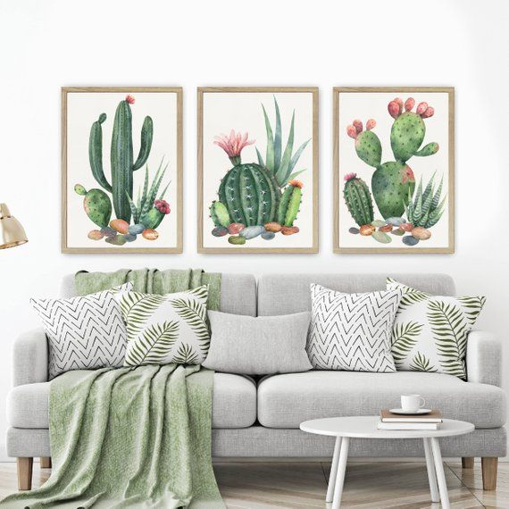 WATERCOLOR CACTUS Wall Art, Watercolor Boho Living Room Art Pictures, Cactus Rocks Watercolor Artwork, Cactus Rocks Set of 3 Canvas or Print #livingroomideas