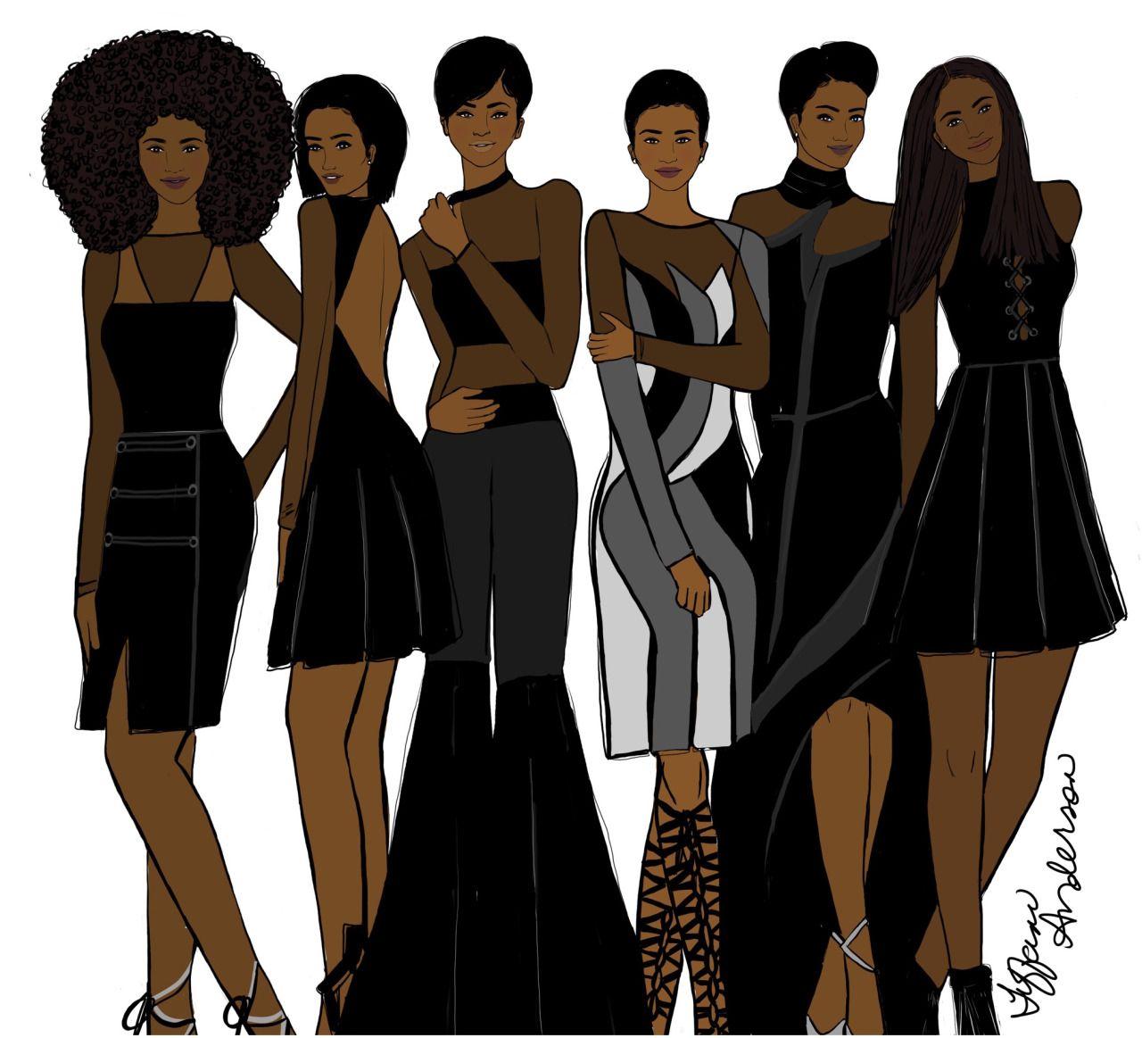 African American Girls Fashion: Black Beauty - Tiffani Anderson Illustration