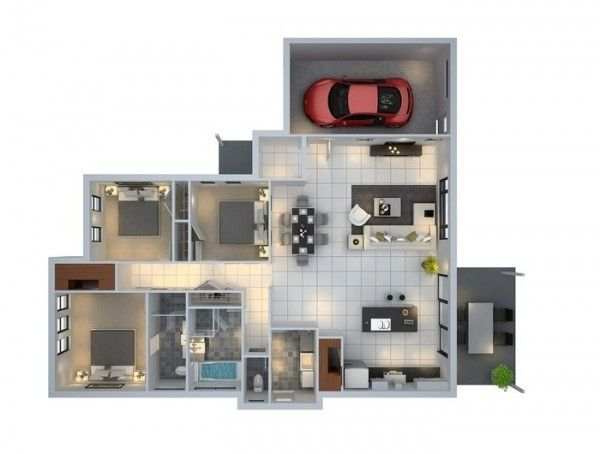 3 Bedroom ApartmentHouse Plans small apart Pinterest Garage