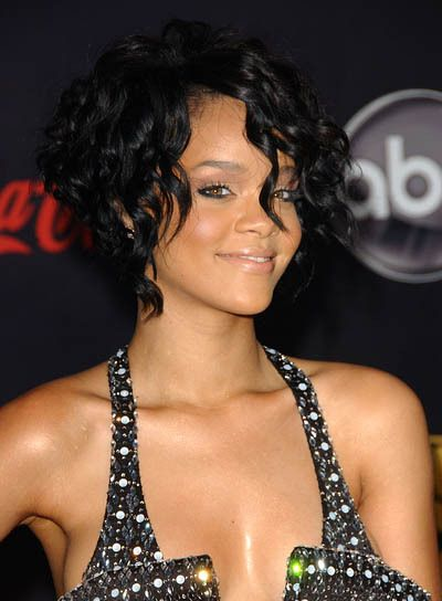 Rihanna's short and curly hairstyle