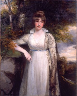 """Eleanor Eden was the daughter of the 1st Lord Auckland, a minor Tory minister in the administration of William Pitt the Younger. She was a celebrated beauty, who was thought to be his intended wife. The matter came to nothing - it was rumoured that Pitt feared marriage because of madness in his family - and she married instead on June 1st 1799 Robert Hobart 4th Earl of Buckinghamshire,"""" Hoppner, c.1790."""