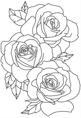 Flowers Roses Urban Threads Unique And Awesome Embroidery Designs Rose Outline Tattoo Roses Drawing Flower Outline Tattoo