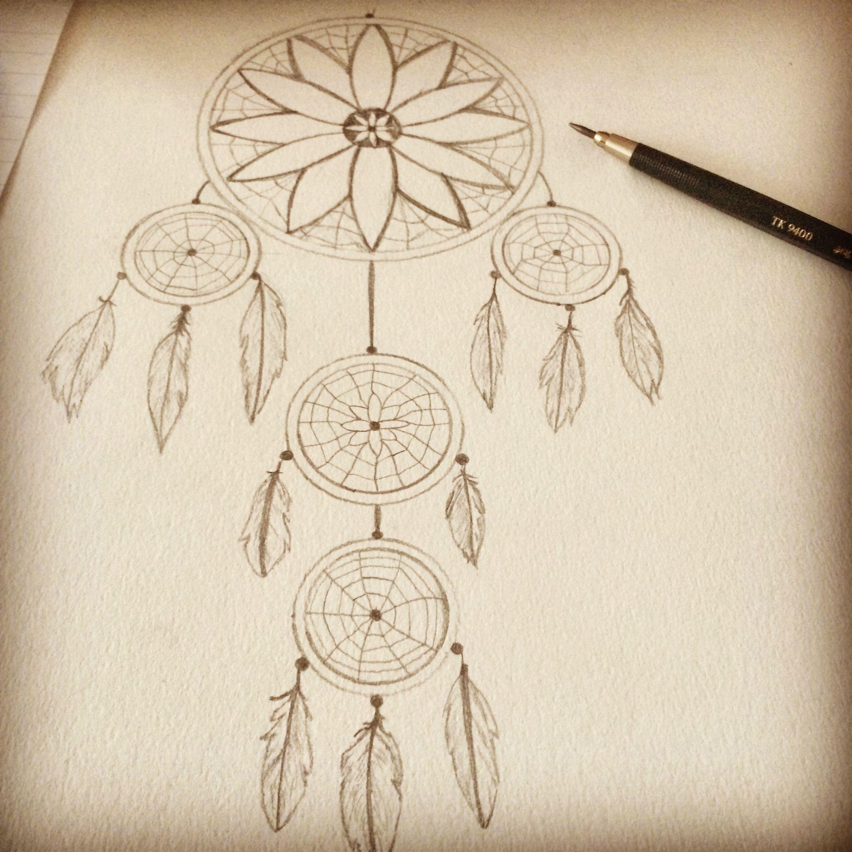 Traumfänger Selbst Gezeichnet Bleistift Zeichnung Papier